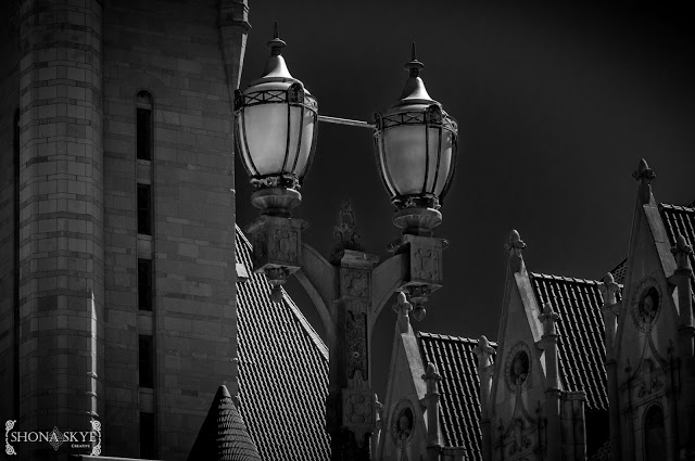 St. Louis, MO, Missouri, Downtown, Union Station, Hotel, Light, Lighting, Black and White, Gothic, IR, Infrared